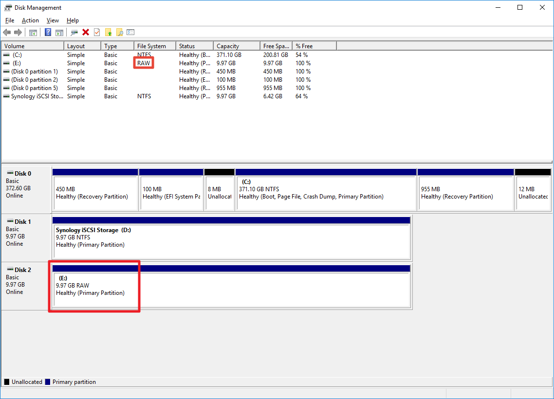 What should I do if the file system of my iSCSI LUN shows as