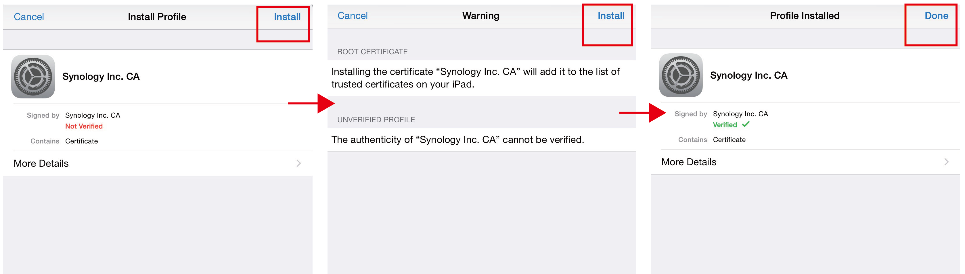 How do I import a certificate from my Synology NAS to my