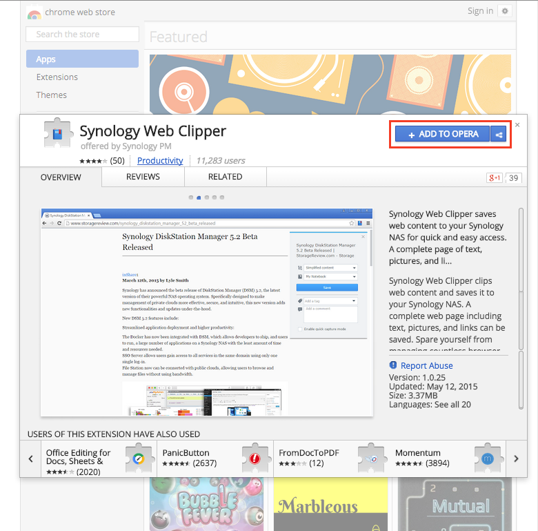 How can I use Synology Web Clipper in my Opera web browser