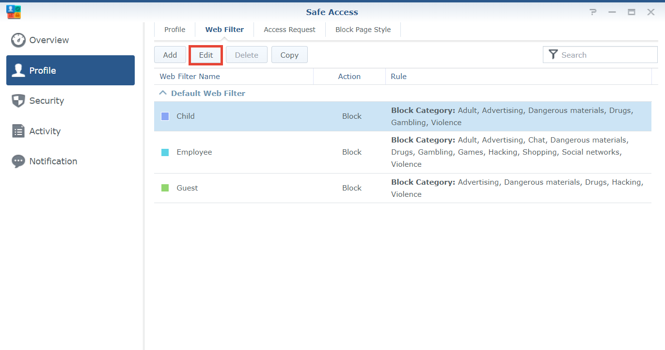 How do I set schedules for web filters?   Synology Inc