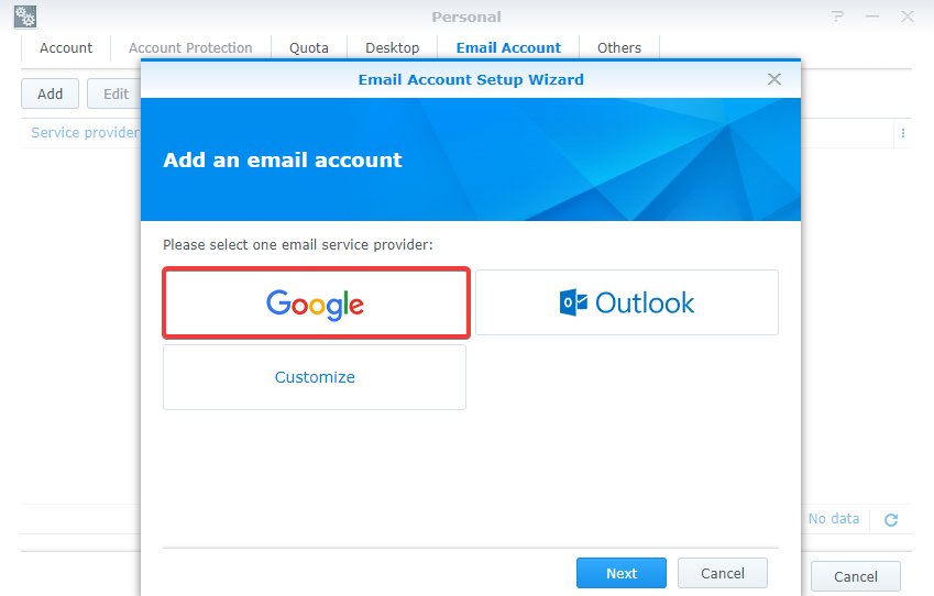 How to use Gmail SMTP server to send emails for DSM