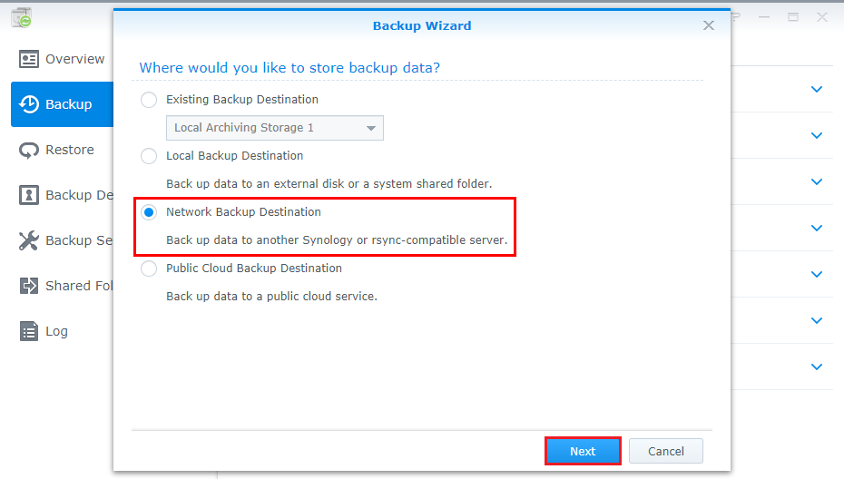 How to back up data from one Synology NAS to another