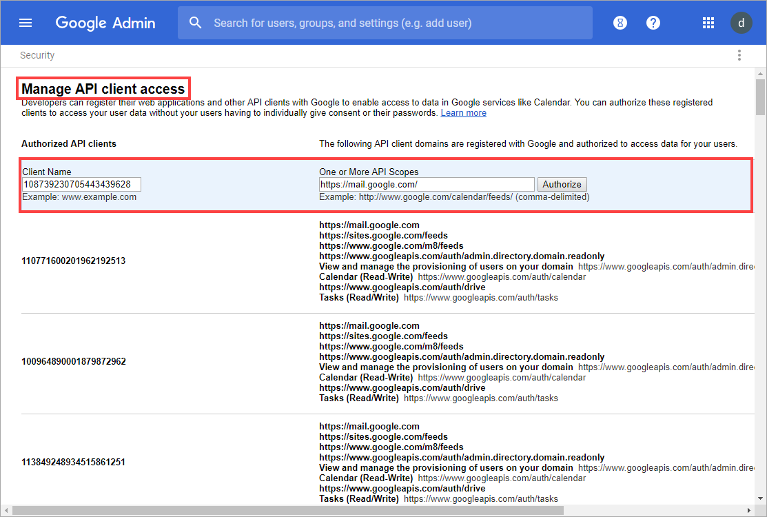 How to obtain authorization from Google for migrating emails from G