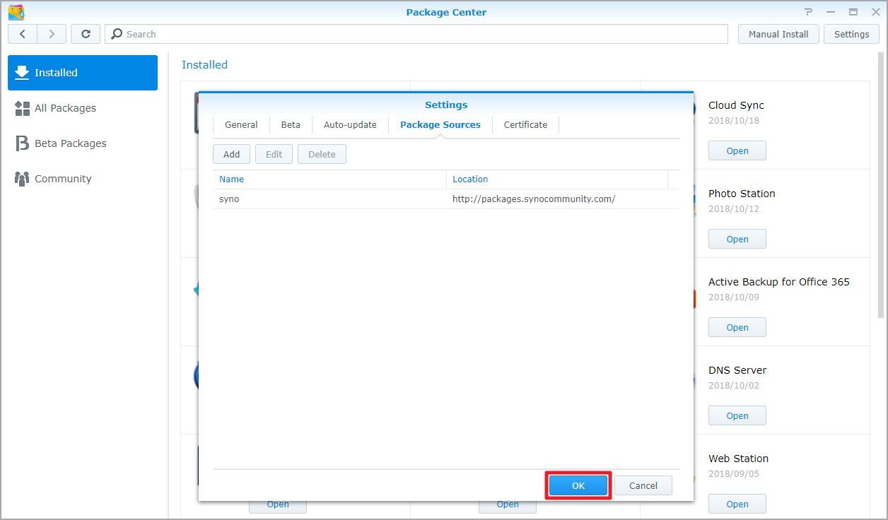 패키지 센터를 사용하여 응용 프로그램 설치 방법   Synology Inc