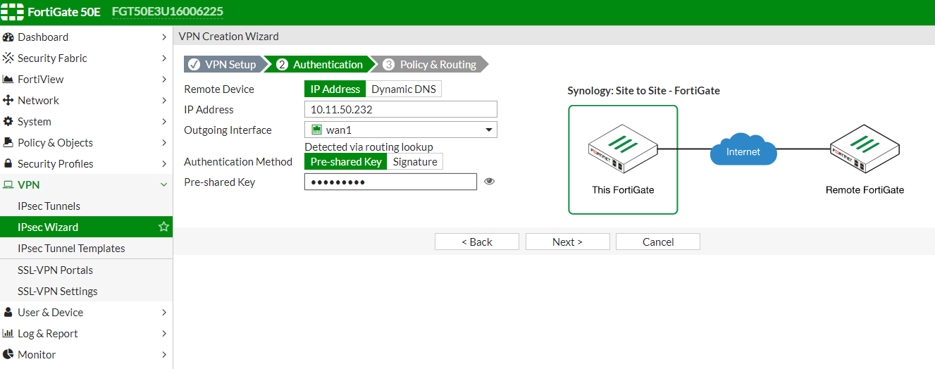 How to set up Site-to-Site VPN between Synology Router and FortiGate