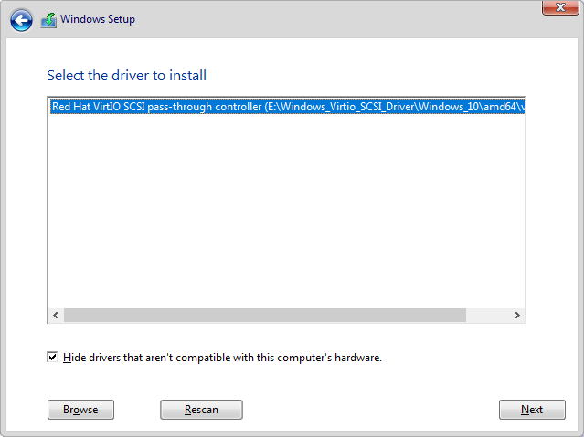 How to load VirtIO storage driver for Windows Setup on