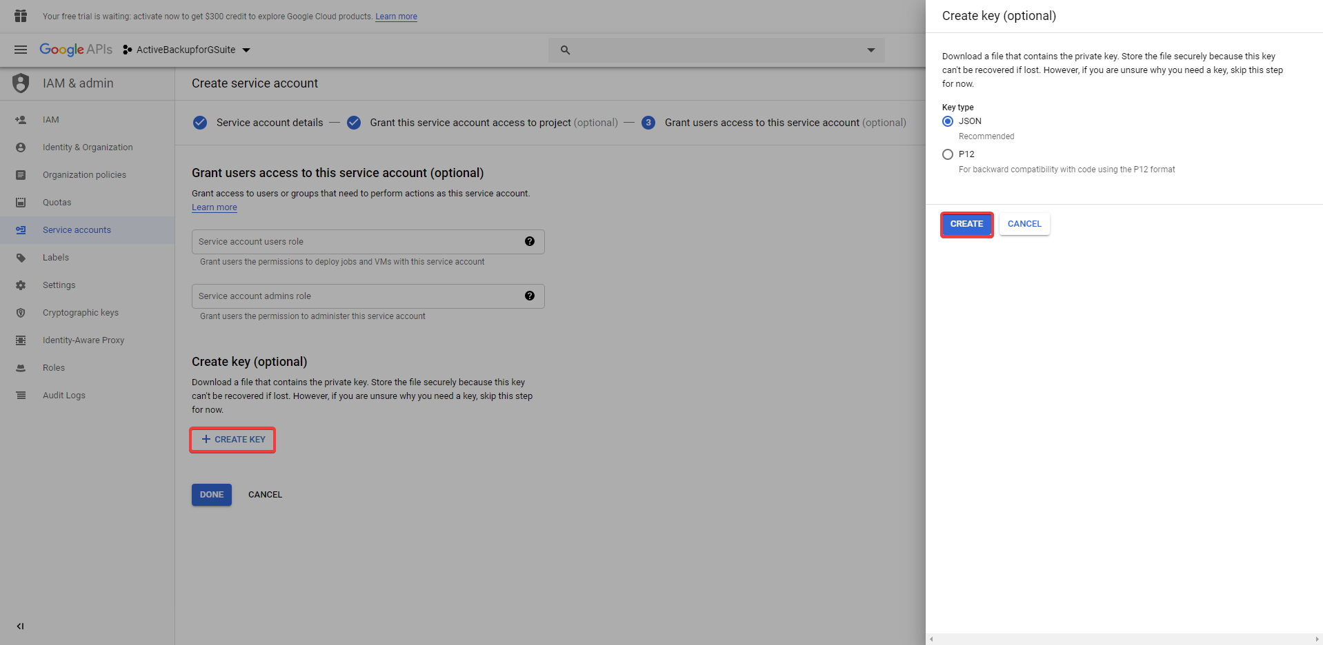 How to obtain authorization from Google for using Active Backup for