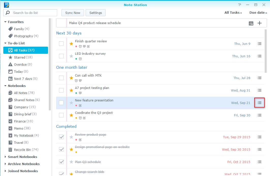 how to create and manage your to do list with note station