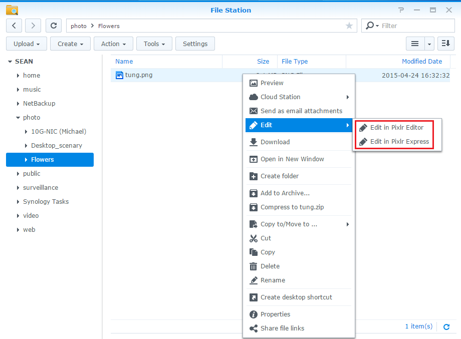 How to edit photos stored on Synology NAS with web-based external
