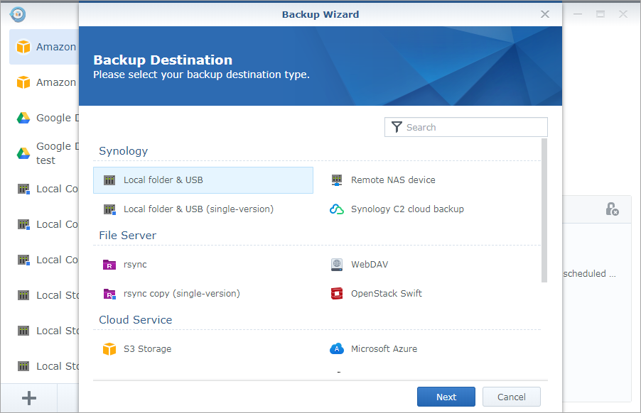How to back up your data to local shared folders or USB with