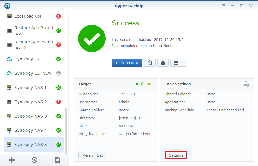 How to back up your data to a remote Synology NAS or file server