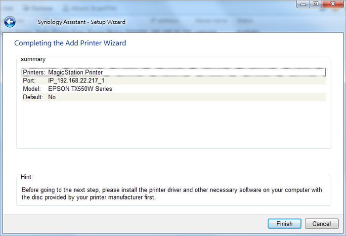 How to set up network printers shared from Synology NAS on Windows