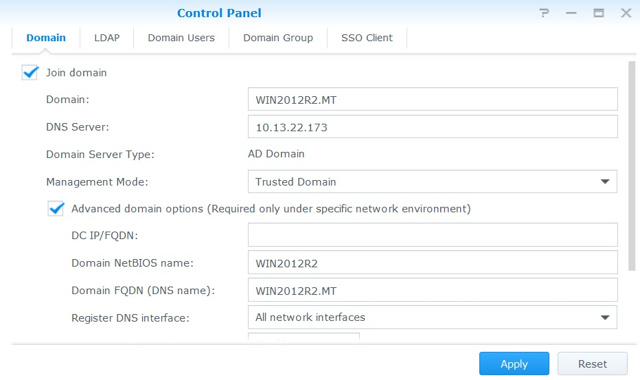 How to join my Synology NAS into Windows Active Directory