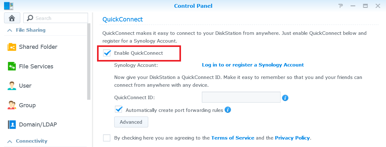 QuickConnect and File Sharing