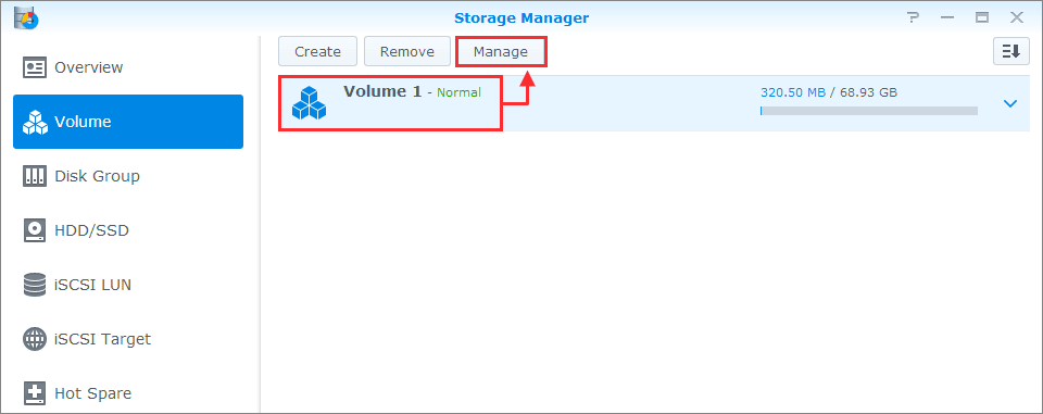 synology how to create btrfs volume