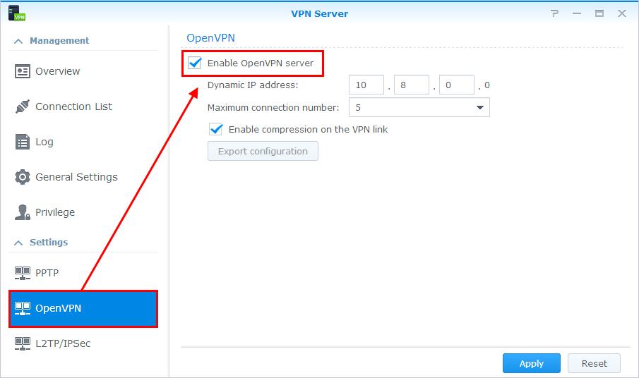 Set up VPN Server | Synology Inc